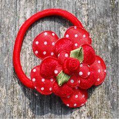 Elastiekje bloem rood
