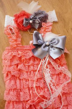 NEWCoral Pink Petti Romper SetBaby Girl RomperLace by AshleyBryann, $36.95