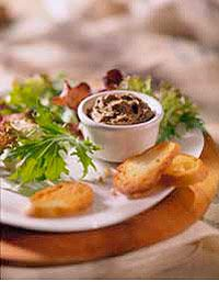 French for pie, pate is a smooth, well-seasoned mixture of ground meats served chilled as an appetizer.