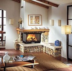 Corner fireplace village two sided stone decor
