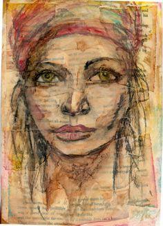 Mixed media art portrait by Lisa Wright