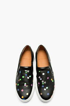 GIVENCHY Black Leather Confetti Print Slip-On Shoes