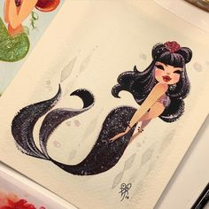 Vamp Sold today in my etsy shop #MondayMermie #gouache #MiniMermies by lianahee