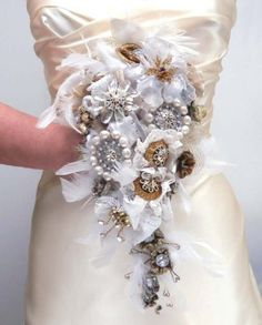 Bridal Bouquet Victorian Steampunk Handmade Recycled Broach Style TAGT TEAM tagt team. $325.00, via Etsy.  It would never die...