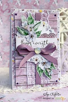 Beautiful card made using Violet Love collection by Studio 75