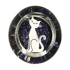 Glass Magic Cat Paperweight.