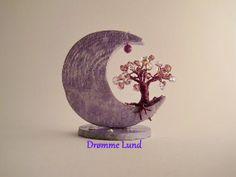 Lavender Moon Tree OOAK Wire Tree Decoration  by DrommeLund