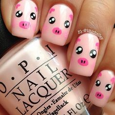 super cute pig nails