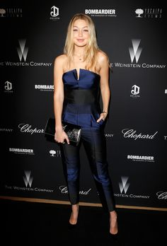 Gigi Hadid's best red carpet and street style looks: The Weinstein Company's Academy Award party at Montage Beverly Hills, March 2014