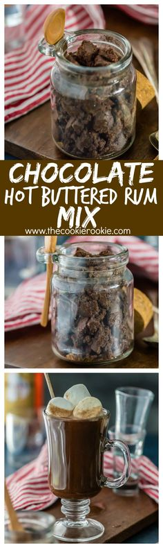 Chocolate Hot Buttered Rum Mix, such an easy, creative, and DELICIOUS easy homemade gift for Christmas or anytime! This drink recipe is AMAZING. Yummy Treats, Sweet Treats, Yummy Food, Homemade Chocolate, Chocolate Recipes, Easy Homemade Gifts, Hot Buttered Rum, Winter Drinks, Chocolate Coffee