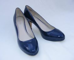 Women's Nine West Blue Patent Leather Classic Pumps, Selena Pumps, 9.5 M