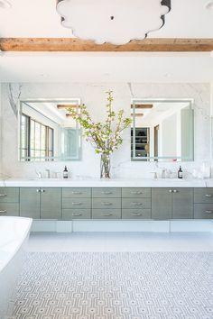 Long gray floating sink vanity featuring his and her sinks under square mirrors mounted on a marble slab backsplash. Floating Bathroom Vanities, Floating Sink, Double Sink Bathroom, Bathroom Sink Vanity, Small Bathroom, Double Sinks, Bathrooms, Master Bathroom, Pool Bathroom