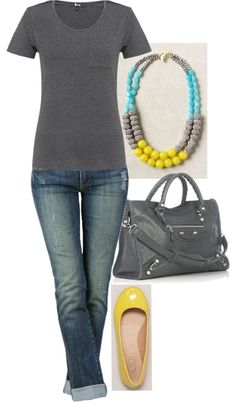 Yellow, Turquoise  Grey. Love the pop of color in the shoes and necklace.            Simple  Cute!