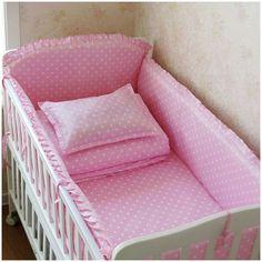5pcs Newborn Baby Bedding Bumpers Set 100% Cotton Baby Bumper, Boys and Girls Unisex Cartoon Bed Safe Around Baby Bedding+Sheet