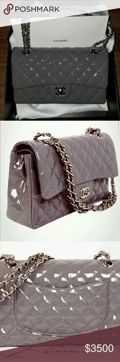 Chanel Classic Flap Gray patent leather silver Authentic Chanel Bag Gray  Rabat Gray patent leather with 3a4ed18962498