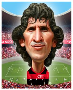 Nossa caricatura do Zico no jogo Família Futebol Clube, no programa Esporte Espetacular da rede Globo. Veiculada neste domingo, 28 de junho.