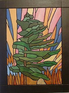 Northern Lights Abstract Pine Tree Wood Sculpture Wall Art Wall Hanging Wooden…