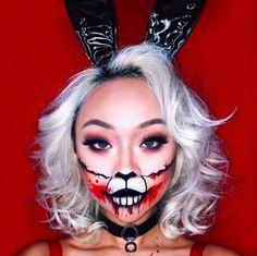 Bubble bubble, boil and…bronzer? Bunny Halloween Makeup, Bunny Makeup, Cat Makeup, Halloween Makeup Looks, Halloween Make Up, Costume Halloween, Alice In Wonderland Makeup, Instagram Makeup Artist, Makeup Boutique
