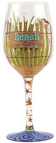 """Beach Girl"" Wine Glass by Lolita (Hula Island)"