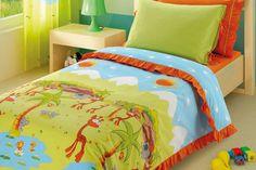 Custom Twin Size Green Orange Jungle Animals Printed Frilled Kid Bedding Set For Children. $100.00, via Etsy.