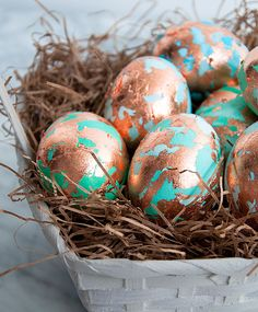 wonderful copper gilded easter eggs. would love to make these on artificial eggs to display year after year.