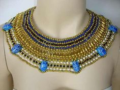 Cleopatra Beaded Collar Necklace 7 Scarabs Egypt from Cleopatra by DaWanda.com