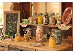 Vintage Bridal Shower sweet treat display