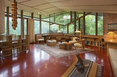 The time capsule living room of a Frank Lloyd Wright-designed house in Minnesota.