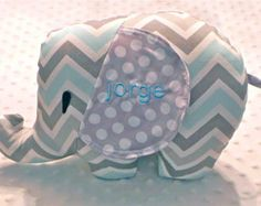Baby Boy Light Blue and Gray Chevron and Polka Dots Stuff Elephant