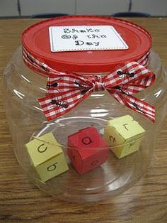 """Shake of the Day"""" ideas:    Shake all vowels  Make a VCV word  Shake 2 words that rhyme  Shake a picture and the letter of the beginning sound of that picture  Addition or Subtraction  3 numbers in a row / example 4, 5, 6  3 dots / 3 / three"""
