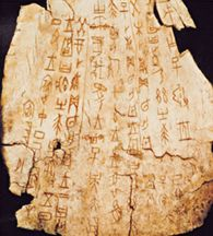 Chinese Oracle Bone Script - The earliest examples of Chinese writing comes from the Shang Dynasty : circa 1556-1046 BC. These inscriptions recorded divinations on turtle shells and cow bones as rituals were in progress. The characters on the oracle bones formed the basis for the later written Chinese language. Specimen recovered from a Shang tomb near Anyang, China, circa 1,600 BC