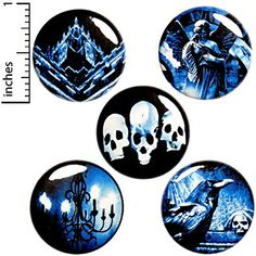 Goth 5 Pack Buttons for Backpacks Pins or Fridge Magnets 1 Inch Funny Buttons, Cool Buttons, Metal Buttons, Bloody Halloween, Pretty Halloween, Halloween Party Favors, Halloween Items, Jacket Pins, Pin Badges