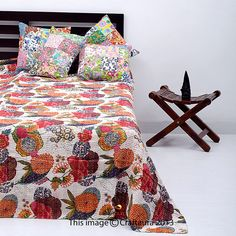 Queen Blanket In White, Beautiful Kantha Quilt Bedspread In Floral Design on Etsy, $59.99