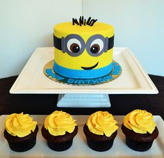 Minion (Despicable Me) Cake and Cupcakes by Simply Sweet Creations (www.simplysweetonline.com)