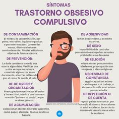 Tipos de síntomas del trastorno obsesivo compulsivo:  #toc #ansiedad Colleges For Psychology, Psychology Facts, Health And Wellness, Mental Health, Mental Disorders, Student Studying, Psychiatry, Nurse Life, Neuroscience