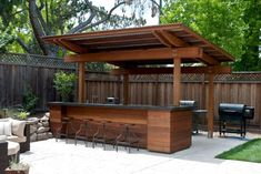 Creative Patio/Outdoor Bar Ideas You Must Try at Your Backyard - - Bar Ideen - Outdoor Kitchen Bar Patio, Backyard Bar, Backyard Kitchen, Backyard Patio Designs, Backyard Landscaping, Patio Ideas, Backyard Ideas, Kitchen Grill, Sloped Backyard
