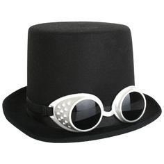 Let's Party With Balloons - Dr Tom's Black with Steampunk Goggles Top Hat, $26.00 (http://www.letspartywithballoons.com.au/dr-toms-black-with-steampunk-goggles-top-hat/)