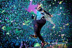 """@Madison Heim   Mylo Xyloto butterfly confetti. Also you get a free glowing wrist bracelet. """"It's part of the show"""".    I can't wait to see them!"""