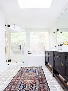 the glass doors on the shower!