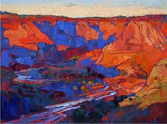 Canyon Wash Painting by Erin Hanson - Canyon Wash Fine Art Prints and Posters for Sale Erin Hanson, Abstract Landscape, Landscape Paintings, Abstract Art, Southwestern Art, Desert Art, Painting Inspiration, Cool Art, Photos