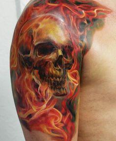 Tattoo by Dmitriy Khominskiy Attitude Tattoo Studio Pilestredet 0350 Oslo, Evil Skull Tattoo, Evil Tattoos, Skull Sleeve Tattoos, Flame Tattoos, Biker Tattoos, Skull Tattoo Design, Tattoo Design Drawings, Body Art Tattoos, Tatoos