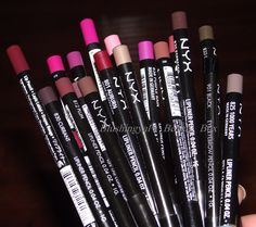 nyx lip pencils in: Sand Pink, Peekaboo Neutral, Plush Red, Auburn, Plum, Cabaret, Pinky, Ever