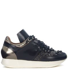 ESSEUTESSE | ESSEutESSE Esseutesse Black And Bronze Leather Sneakers With Pearls #Shoes #Sneakers #ESSEUTESSE