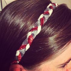 Homemade braided headband!  Wsu cougs!