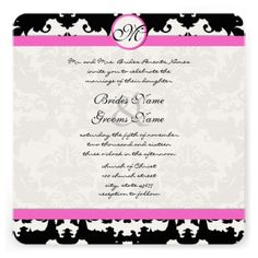 ReviewPink and Black Damask Swirls Wedding Invitationyou will get best price offer lowest prices or diccount coupone