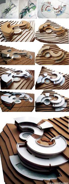 Diseño y confección de maqueta para un spa de terapia relajante en las faldas de la Cruz de San Antonio de Escazú. La configuración corresponde a las visuales del sitio, una curva que recibe desde la...