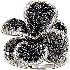 Effy Collection Black Diamond Flower Ring In 14 Kt. White Gold, 2.29 Ct. T.W. found on Polyvore
