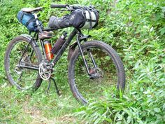 Picture of mountain bike for touring and bike packing with DIY bags