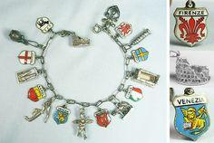 Italy Venice Naples Genoa Enameled Shields Vintage Silver Charm Bracelet | eBay