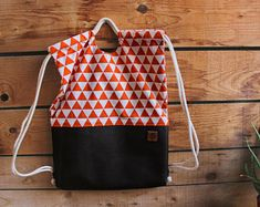 Handmade bags and accessories - by BatibotAccessories- Handmade bags and accessories – by BatibotAccessories Drawstring Bag, Orange Backpack,Shoulder Bag/Handbag - Handmade Handbags, Handmade Bags, Orange Backpacks, Backpack Pattern, Fabric Bags, Fabric Basket, Kids Bags, Backpack Bags, Drawstring Backpack